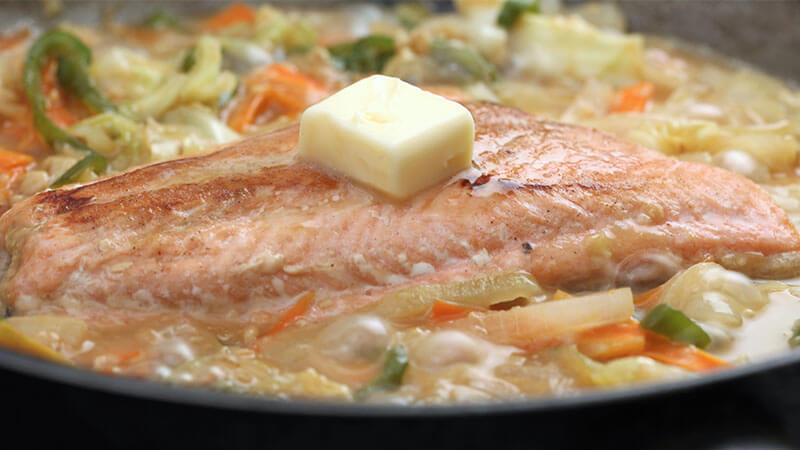 菊芋と鮭のちゃんちゃん焼き